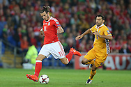 Gareth Bale of Wales has a shot at goal. Wales v Moldova , FIFA World Cup qualifier at the Cardiff city Stadium in Cardiff on Monday 5th Sept 2016. pic by Andrew Orchard, Andrew Orchard sports photography