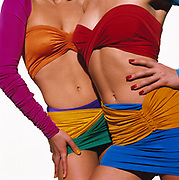 Two tan women's very fit torsos wearing exotic colorful swimsuits against a white background