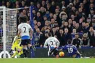 Diego Costa of Chelsea slides in to score his sides 1st goal to make it 1-0. Barclays Premier league match, Chelsea v Newcastle Utd at Stamford Bridge in London on Saturday 13th February 2016.<br /> pic by John Patrick Fletcher, Andrew Orchard sports photography.