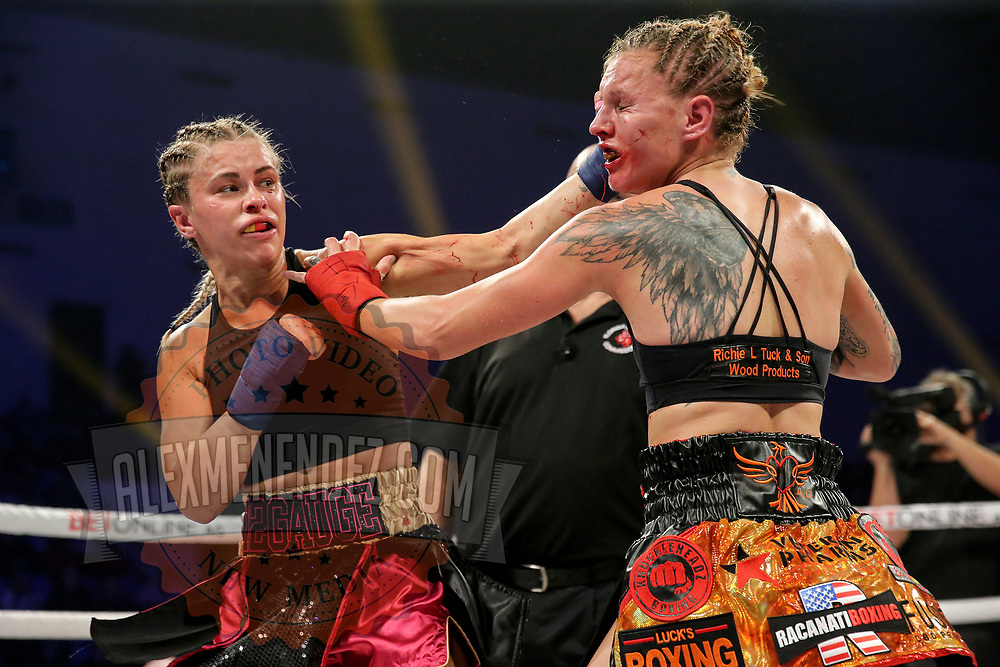 TAMPA, FL - FEBRUARY 06: Paige Van Zant throws a left hand to the chin of Britain Hart during the BKFC KnuckleMania event at RP Funding Center on February 6, 2021 in Tampa, Florida. (Photo by Alex Menendez/Getty Images) *** Local Caption *** Paige Van Zant; Britain Hart