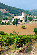 The ancient Abbey of Saint Antimo, Abbazia Sant'Antimo, near Montalcino, Val D'Orcia, Tuscany, Italy