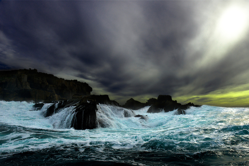 Angry clouds and surf around Shipman Head, Bryher, Isles of Scilly, UK