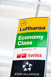 THEMENBILD, Airport Muenchen, Franz Josef Strauß (IATA: MUC, ICAO: EDDM), Der Flughafen Muenchen zählt zu den groessten Drehkreuzen Europas, rund 100 Fluggesellschaften verbinden ihn mit 230 Zielen in 70 Laendern, im Bild Hinweisschild, Logos: Lufthansa, Economy Class, Austrian Airlines, Swiss Internation Air Lines, Star Alliance // THEME IMAGE, FEATURE - Airport Munich, Franz Josef Strauss (IATA: MUC, ICAO: EDDM), The airport Munich is one of the largest hubs in Europe, approximately 100 airlines connect it to 230 destinations in 70 countries. picture shows: Sign with Logos: Lufthansa, Economy Class, Austrian Airlines, Swiss Internation Air Lines, Star Alliance, Munich, Germany on 2012/05/06. EXPA Pictures © 2012, PhotoCredit: EXPA/ Juergen Feichter