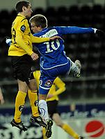Fotball , 14. Mars , Sør Arena , Tippeligaen , Start - Sandefjord , Rune Ertsås , Sandefjord , i duell med debutant Avni Pepa , Start