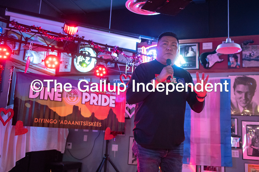 Alray Nelson, Diné Pride executive director introduces the drag troupe Blackout at Diné Pride's Queen of Hearts Dance and Drag Show Saturday night at Sammy C's Rock N' Sports Pub & Grille in Gallup.