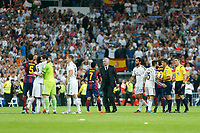 Real Madrid´s players and coach Carlo Ancelotti and Barcelona´s players after La Liga match between Real Madrid and F.C. Barcelona in Santiago Bernabeu stadium in Madrid, Spain. October 25, 2014. (ALTERPHOTOS/Victor Blanco)