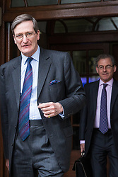 London, UK. 9th April 2019. Dominic Grieve, Conservative MP for Beaconsfield, leaves the People's Vote rally in Westminster.