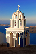 Bell tower of an Orthodox church, Fira, Santorini .<br /> <br /> If you prefer to buy from our ALAMY PHOTO LIBRARY  Collection visit : https://www.alamy.com/portfolio/paul-williams-funkystock/santorini-greece.html<br /> <br /> Visit our PHOTO COLLECTIONS OF GREECE for more photos to download or buy as wall art prints https://funkystock.photoshelter.com/gallery-collection/Pictures-Images-of-Greece-Photos-of-Greek-Historic-Landmark-Sites/C0000w6e8OkknEb8