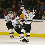 KC Ball (right) celebrates with team mates after scoring for Botany Swarm during the Southern Stampede V Botany Swarm National Ice Hockey League match at the Queenstown Ice Arena , South Island, New Zealand, 2nd July  2011