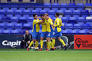 Exeter City's Jordan Morre-Taylor celebrates with his teammates after he scores his teams 2nd goal. Skybet football league two match, Tranmere Rovers v Exeter city at Prenton Park in Birkenhead, the Wirral on Saturday 20th Sept 2014.<br /> pic by Chris Stading, Andrew Orchard sports photography.
