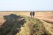 Two people walking on coastal defence wall at Shingle Street, Suffolk, England