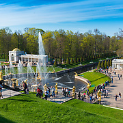 The Grand Cascade In Peterhof, Saint Petersburg