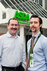 Grocery Director Ade McKeon (Right) the driving force behind Movember at Asda House Leeds, with  Ed Smith just one of the colleagues he persuaded to take part. The aim of Movember is to raise funds and awareness for men's health, especially cancers that affect men...28 November 2011  Image © Paul David Drabble