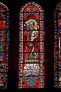 Medieval Window of the North Transept of the Gothic Cathedral of Chartres, France- Circa 1235. A UNESCO World Heritage Site. The panels depicts Saint Anne carrying the infant Mary with The arms of the Royal House of France below. .<br /> <br /> Visit our MEDIEVAL ART PHOTO COLLECTIONS for more   photos  to download or buy as prints https://funkystock.photoshelter.com/gallery-collection/Medieval-Middle-Ages-Art-Artefacts-Antiquities-Pictures-Images-of/C0000YpKXiAHnG2k