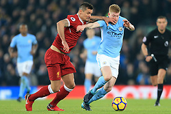 14 January 2018 - Premier League Football - Liverpool v Manchester City - Dejan Lovren of Liverpool hits Kevin De Bruyne of Man City in the face as they battle for the ball - Photo: Simon Stacpoole / Offside