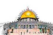 Israel, Jerusalem Old City, Dome of the Rock on Haram esh Sharif (Temple Mount) - Digitally Enhancement
