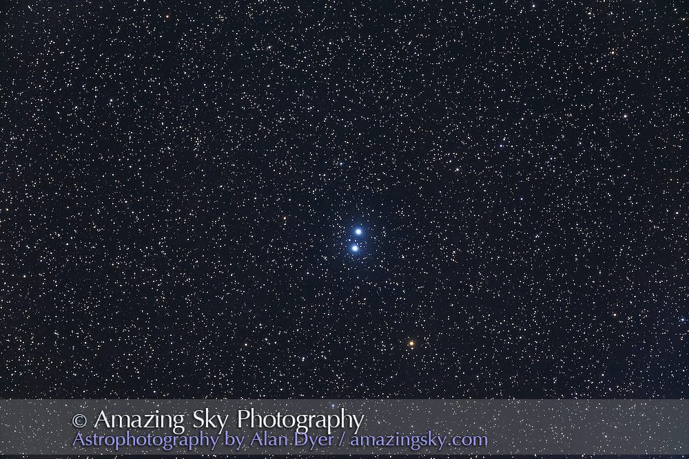 Epsilon Lyrae, the Double-Double Star in Lyra, here resolved into just the main wide pair, but each of those stars is also a tight double. Taken from home Nov. 25, 2016 with the 130mm AP f/6 apo refactor with the 6x7 field flattener and Canon 6D at ISO 800 for a stack of 4 x 3 minute exposures.
