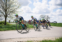 Lizzie Williams (Orica AIS) takes up the pace setting at Omloop van Borsele 2016. A 139 km road race starting and finishing in 's-Heerenhoek, Netherlands on 23rd April 2016.
