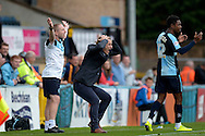 Gareth Ainsworth, the Wycombe Wanderers manager reacts and shows frustration on the touchline. Skybet football league two match, Wycombe Wanderers v Hartlepool Utd at Adams Park in High Wycombe, Bucks on Saturday 5th Sept 2015.<br /> pic by John Patrick Fletcher, Andrew Orchard sports photography.