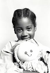 Portrait of small girl, UK 1990s MR