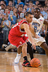 12 January 2008: North Carolina State Wolfpack guard Javier Gonzales (10) guarded by Tar Heels guard Ty Lawson (5) during a 62-93 loss to the North Carolina Tar Heels at the Dean Smith Center in Chapel Hill, NC.