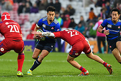 Yu Tamura of Japan is tackled by Ramil Grayson of Russia <br /> <br /> Photographer Craig Thomas<br /> <br /> Japan v Russia<br /> <br /> World Copyright ©  2018 Replay images. All rights reserved. 15 Foundry Road, Risca, Newport, NP11 6AL - Tel: +44 (0) 7557115724 - craig@replayimages.co.uk - www.replayimages.co.uk