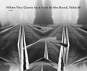 """""""When You Come to a Fork in the Road, Take It!"""", derivative image from a photo of Hurricane Ridge Road in evening fog, August, Olympic National Park, Clallam County, Olympic Peninsula, Washington, USA"""