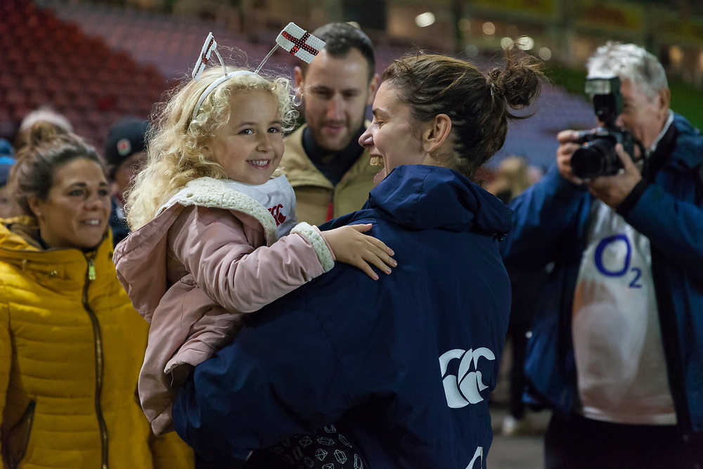 Sarah Hunter with family post match, England Women v Canada in an Autumn International match at The Stoop, Twickenham, London, England, on 21st November 2017 Final score 49-12
