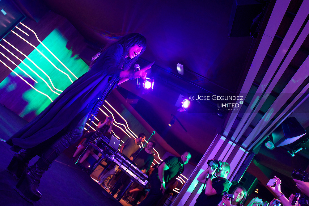 Swedish singer Loreen, winner of Eurovision 2012, performs, Euphoria, on stage at Cafe 40 in Madrid, Spain