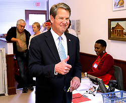 Secretary of State Brian Kemp, Republican candidate for Georgia governor, gives the thumbs up as he arrives to cast his vote at the Winterville Train Depot on Tuesday, Nov. 6, 2018, in Winterville, Ga. Photo by Curtis Compton/Atlanta Journal-Constitution/TNS/ABACAPRESS.COM