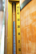 thermometer on fermentation vat dom du vieux telegraphe chateauneuf du pape rhone france