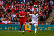 Leyton Orient midfielder Craig Clay (8 )tussles withAFC Flyde midfielder Ryan Croasdale (8) during the FA Trophy final match between AFC Flyde and Leyton Orient at Wembley Stadium on 19 May 2019.