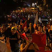 Protest marches, like this one, ending at the US Embassy are frequent since the US recognised Hernandez as the winner of the November 2017 elections, despite the OAS finding systemic irregularities before, during and after the election and the General Secretary of the OAS calling for new elections.