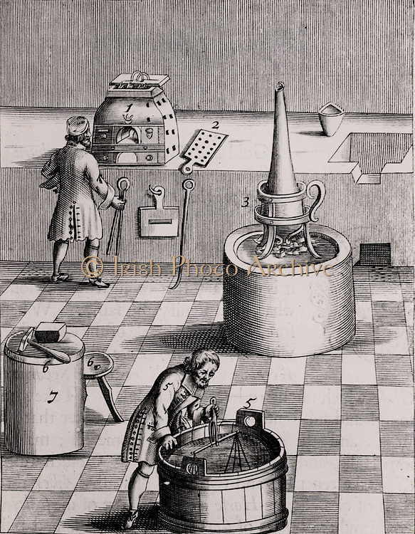 Assay laboratory for gold and silver. 1) Furnace: 2) Sheet of iron onto which assays are poured: 3) Parting flask: 5) Assay by water displacement. From 1683 English edition of Lazarus Ercker  'Beschreibung allerfurnemisten mineralischen Ertzt- und Berckwercksarten' originally published in Prague in 1574. Copperplate engraving.