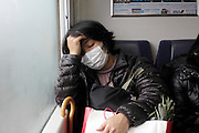 Asian woman during a commuting nap Japan