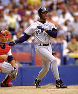 CLEVELAND - 1993:  Ken Griffey Jr. of the Seattle Mariners bats during an MLB game against the Cleveland Indians at Municipal Stadium in Cleveland, Ohio during the 1993 season. (Photo by Ron Vesely)  Subject:  Ken Griffey Jr.