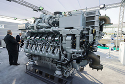 Large 93 litre marine V12 diesel engine manufactured by MTU on display at Dubai International Boat Show 2016 , United Arab Emirates