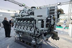 Large 93 litre marine V12 diesel engine manufactured by MTU on display at Dubai International Boat Show 2016 , United Arab Emirates