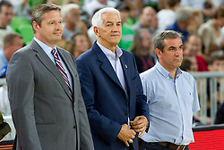 Olafur Rafnsson, FIBA Europe president, Nar Zanolin of FIBA Europe and Roman Volcic during friendly basketball match between National teams of Slovenia and Montenegro of Adecco Ex-Yu Cup 2011 as part of exhibition games before European Championship Lithuania 2011, on August 7, 2011, in Arena Stozice, Ljubljana, Slovenia. Slovenia defeated Crna Gora 86-79. (Photo by Vid Ponikvar / Sportida)