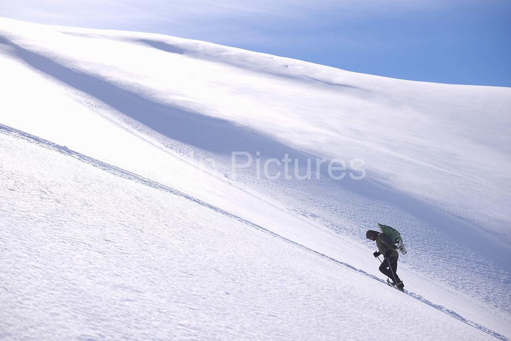 A loan skier hikes in fresh snow at Beldersay ski resort on 26th February 2014 in Uzbekistan.