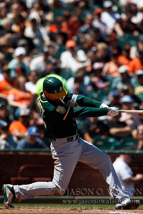 SAN FRANCISCO, CA - JULY 15: Stephen Piscotty #25 of the Oakland Athletics hits a home run against the San Francisco Giants during the sixth inning at AT&T Park on July 15, 2018 in San Francisco, California. The Oakland Athletics defeated the San Francisco Giants 6-2. (Photo by Jason O. Watson/Getty Images) *** Local Caption *** Stephen Piscotty