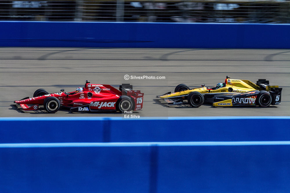FONTANA, CA - JUNE 27 Graham Rahal, driving the No. 15 Mi-Jack Honda for Rahal Letterman Lanigan Racing, won under caution as the cars driven by Ryan Briscoe and Ryan Hunter-Reay made contact in a pack battling for position coming to the white flag DURING the Verizon IndyCar Series MAVTV 500 IndyCar Race at the Auto Club Speedway on June 27, 2015 in Fontana, California. 2015 June 27. Byline, credit, TV usage, web usage or linkback must read SILVEXPHOTO.COM. Failure to byline correctly will incur double the agreed fee. Tel: +1 714 504 6870.
