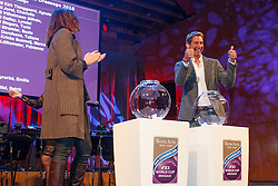 Lyndal Oatley, Patrick Kittel <br /> performing the draw for the starting order of the <br /> Reem Acra FEI World Cup Dressage Finals Goteborg 2016<br /> © Hippo Foto - Dirk Caremans<br /> 24/03/16