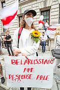 """""""STOP Killing People! Free Belarus"""" are among the slogans Belarussians gathered and shouted in front of Foreign and Commonwealth Office (FCO) in central London on Saturday, Aug 15, 2020.<br /> A political crisis continues in Belarus, an Eastern European nation of 9.5 million people, with many opponents of Mr Lukashenko insisting they will fight on. Thousands of protesters are believed to have been detained, and videos of civilians being beaten by the police continue to emerge, potentially further galvanizing public anger. (VXP Photo/ Vudi Xhymshiti)"""