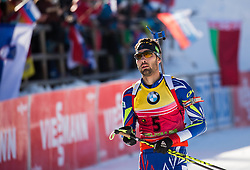 Second placed Martin Fourcade (FRA) at finish line during Men 12,5 km Pursuit at day 3 of IBU Biathlon World Cup 2015/16 Pokljuka, on December 19, 2015 in Rudno polje, Pokljuka, Slovenia. Photo by Vid Ponikvar / Sportida