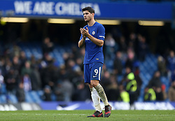 """Chelsea's Alvaro Morata applauds the fans after the Premier League match at Stamford Bridge, London. PRESS ASSOCIATION Photo Picture date: Saturday December 2, 2017. See PA story SOCCER London. Photo credit should read: Steven Paston/PA Wire. RESTRICTIONS: EDITORIAL USE ONLY No use with unauthorised audio, video, data, fixture lists, club/league logos or """"live"""" services. Online in-match use limited to 75 images, no video emulation. No use in betting, games or single club/league/player publications."""