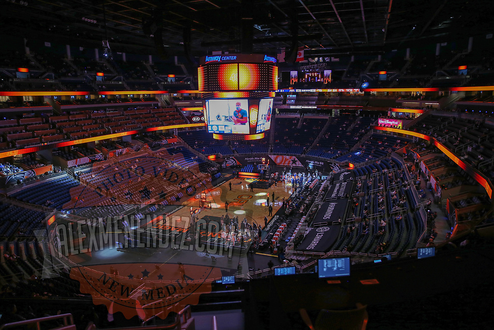 ORLANDO, FL - MARCH 23:  Amway Center is seen during halftime between the Orlando Magic and Denver Nuggets on March 23, 2021 in Orlando, Florida. NOTE TO USER: User expressly acknowledges and agrees that, by downloading and or using this photograph, User is consenting to the terms and conditions of the Getty Images License Agreement. (Photo by Alex Menendez/Getty Images)*** Local Caption ***