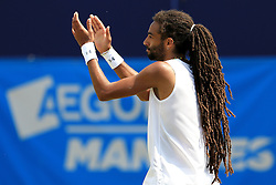 Dustin Brown of Germany celebrates winning the AEGON Manchester Trophy Mens Final against Yen-Hsun Lu of Chinese Taipei - Mandatory by-line: Matt McNulty/JMP - 05/06/2016 - TENNIS - Northern Tennis Club - Manchester, United Kingdom - AEGON Manchester Trophy