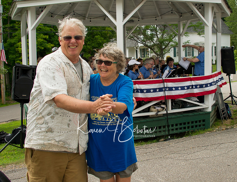 Lynn Chong and Stev Ahogren enjoy a dance while listening to the New Horizon Band during the Sanbornton Old Home Day festivities held on Saturday afternoon.   (Karen Bobotas/for the Laconia Daily Sun)