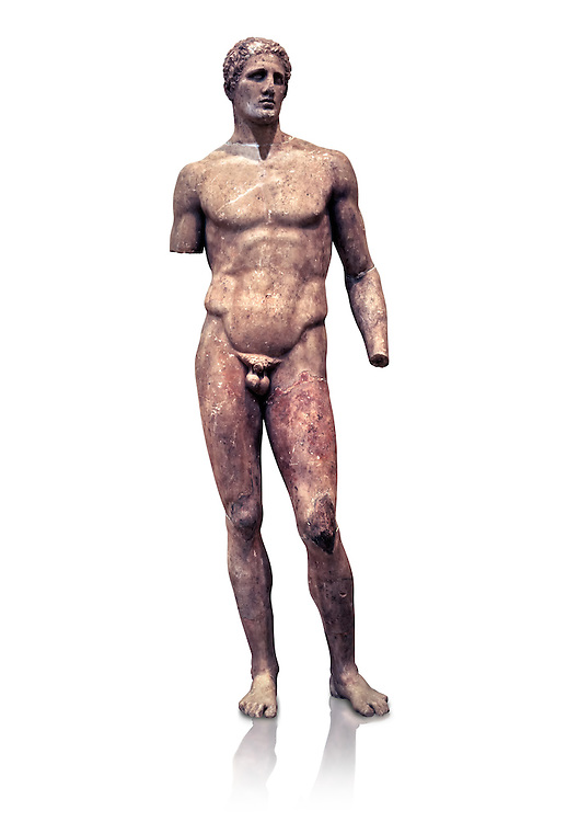 Statue of Hagias the athlete, and this is a marble copy of a bronze statue made by Lysippos in 340 BC. Delphi Archaeological Museum. .<br /> <br /> If you prefer to buy from our ALAMY STOCK LIBRARY page at https://www.alamy.com/portfolio/paul-williams-funkystock/greco-roman-sculptures.html . Type -    Delphi     - into LOWER SEARCH WITHIN GALLERY box - Refine search by adding a subject, place, background colour, museum etc.<br /> <br /> Visit our ANCIENT GREEKS PHOTO COLLECTIONS for more photos to download or buy as wall art prints https://funkystock.photoshelter.com/gallery-collection/Ancient-Greeks-Art-Artefacts-Antiquities-Historic-Sites/C00004CnMmq_Xllw